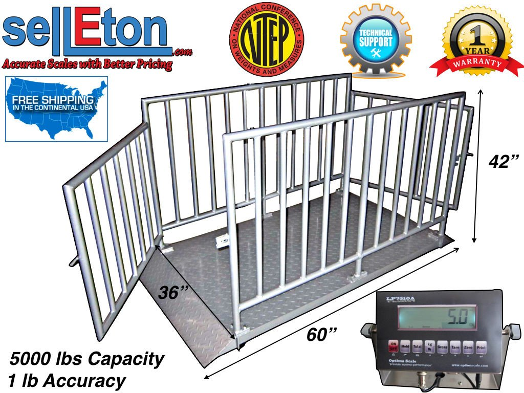 Selleton Ntep 60'' X 36'' X 42'' Cattle/Livestock/Animal Cage Scale System At 5000 Lb X 1 Lb