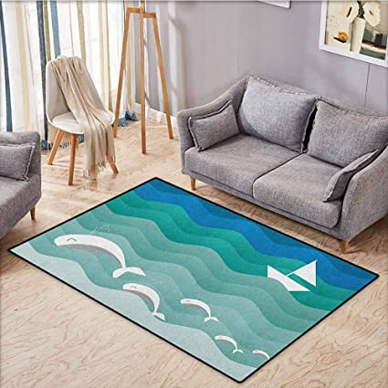 Living Room Rug Nautical Nautical Theme With Paper Boat Sea Happy Dolphins Underwater Sea Animals Extra Large Rug 5 6 X6 6 Blue Sea Green White Amazon Co Uk Kitchen Home