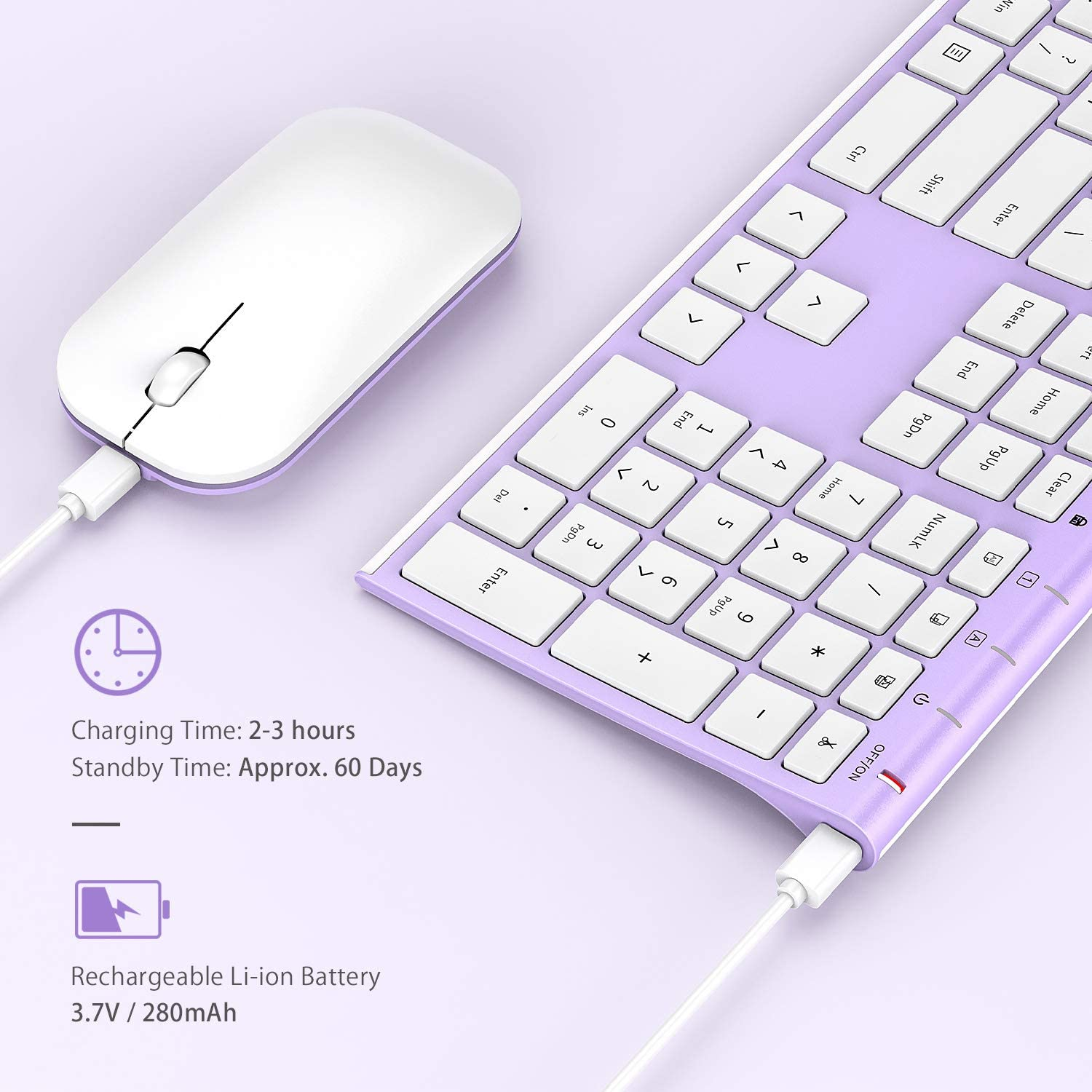 White and Purple Computer Jelly Comb 2.4GHz Ultra Slim Full Size Wireless Keyboard Mouse Combo for Laptop PC Windows OS Rechargeable Wireless Keyboard Mouse Notebook Desktop
