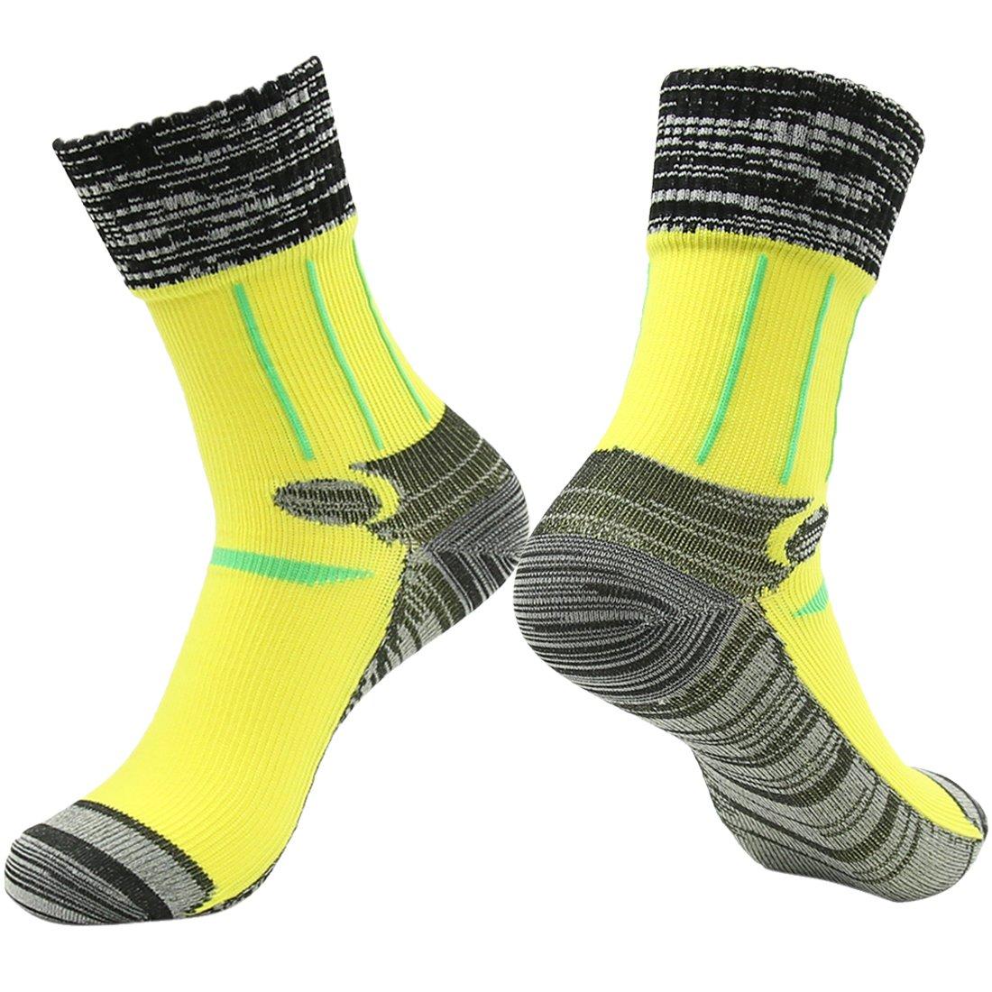 100% Waterproof Skiing Socks, RANDY SUN Women's Ultimate Cool-Lite Pro Crew Soft Socks Yellow Black Grey by RANDY SUN