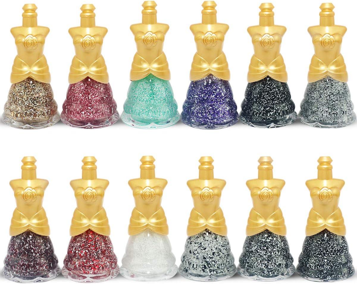 12 x Esmalte De Uñas Glitter Vestido En Forma 12 Colores Diferentes Caja De Lujo (Color Set #A (12 Botellas)): Amazon.es: Belleza
