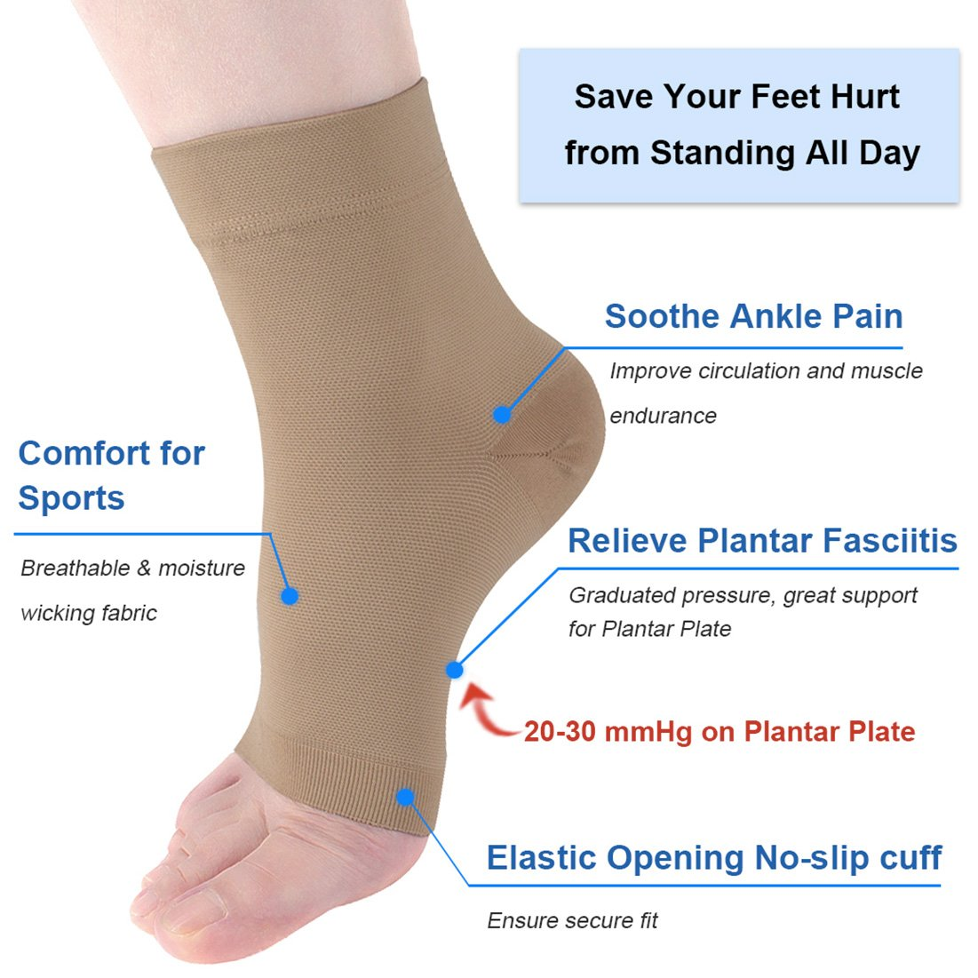 Amazon Com Ailaka Medical 20 30 Mmhg Plantar Fasciitis Socks For