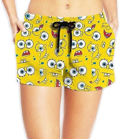 Pantalones Cortos De Playa Para Mujer Con Estampado De Bob Esponja Blanco Large Amazon Es Ropa Y Accesorios