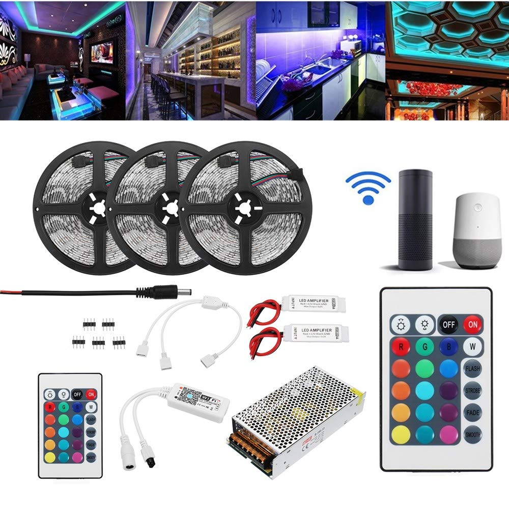ZHENWOFAI 15M 2835 RGBフレキシブルIP65スマートWiFiコントロールAPP LEDストリップライトキットAlexa AC110-240Vで動作 LED装飾ライト (Color : EU plug)  EU plug B07NTJK7B6