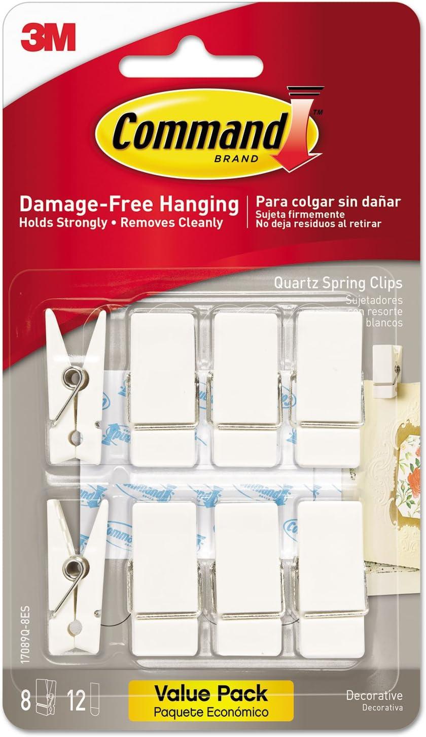 Command Spring Hook, 3/4w x 5/8d x 1 1/2h, White, 8 Hooks/Packs