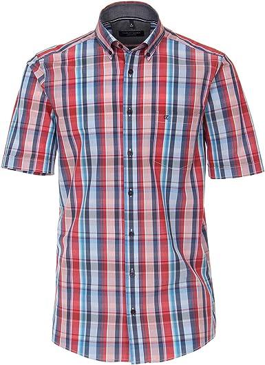 Casamoda Camisa de Manga Corta a Cuadros Rojo-índigo Azul XXL: Amazon.es: Ropa y accesorios