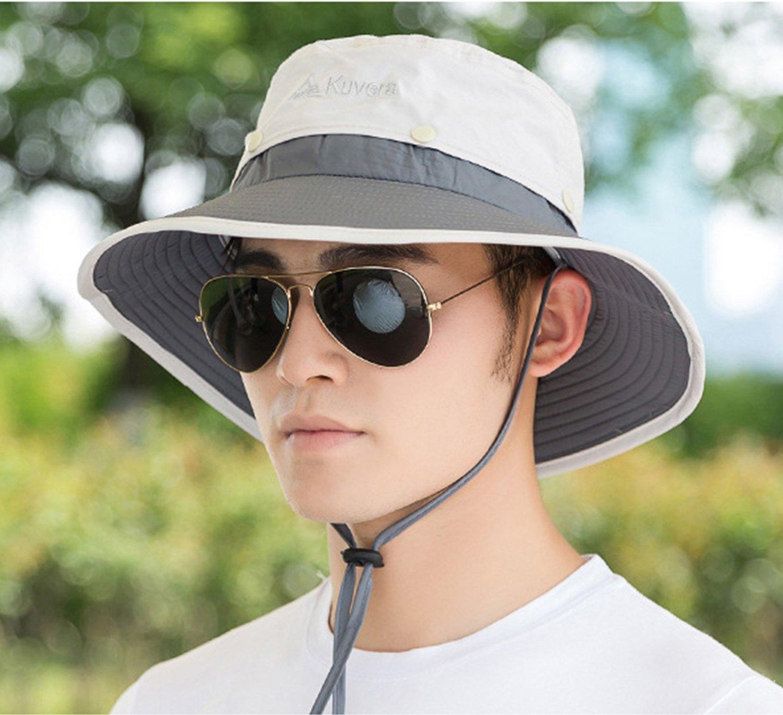 TAGVO Cappelli da sole a tesa larga, cappelli da pescatore Escursione di campeggio da escursione all'aperto Cappellino in tela da sole con protezione solare Cappelli visiera di protezione UV pieghevole per uomo - con un cavo per il mento regolabile