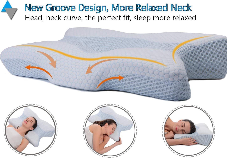Almohadas de espuma viscoel/ástica para el cuello iCoudy para dormir antironquidos c/ómodo y lavable suave apoyo