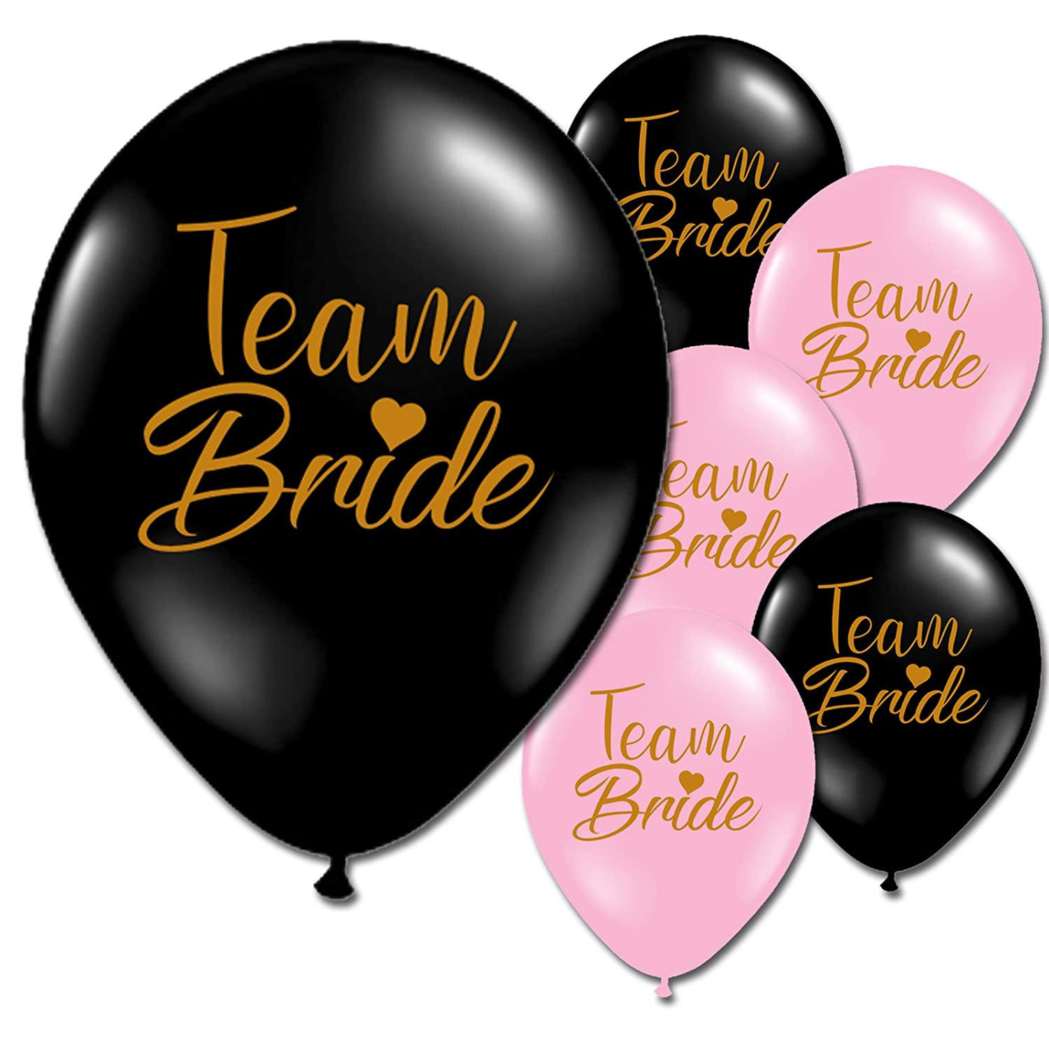 10 x Team Bride Gold Hen Night Party Latex Printed Black Pink Balloons (Baby Pink) Partyshowroom