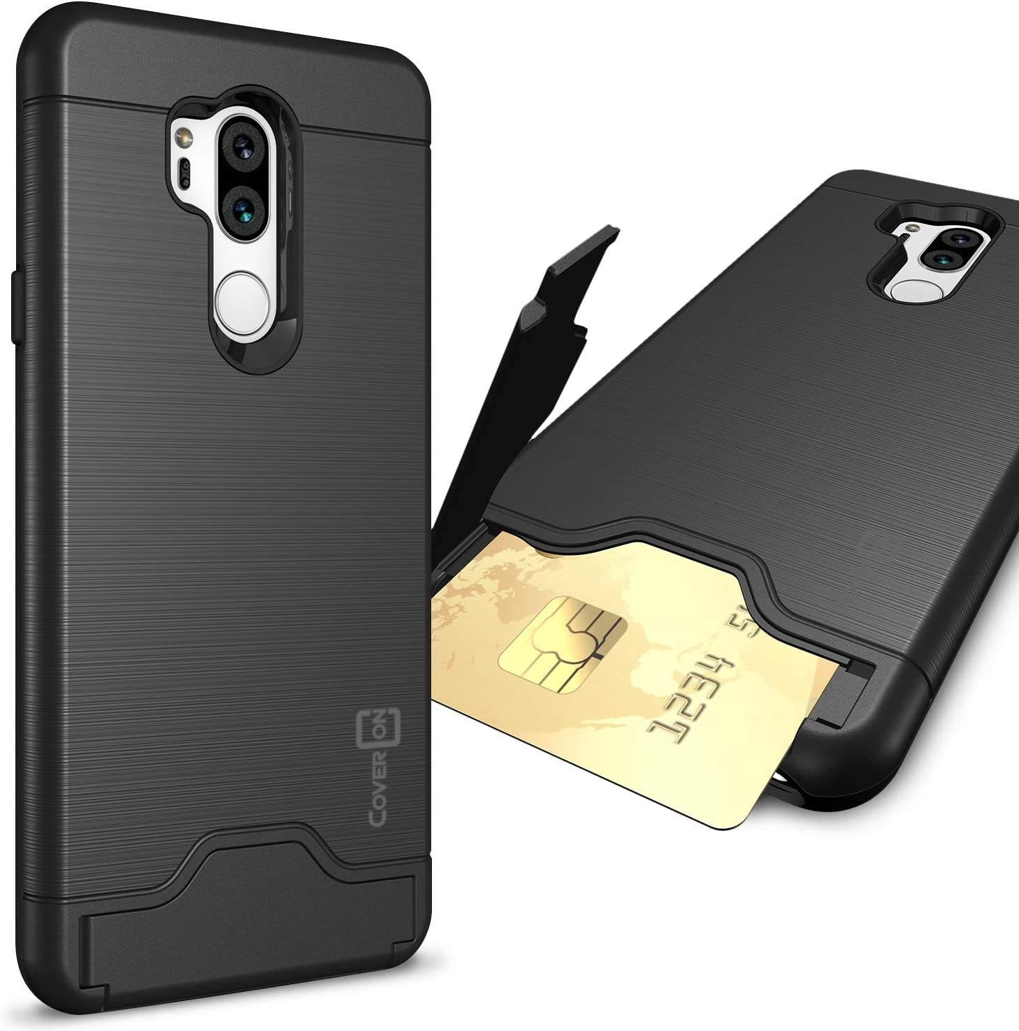 CoverON Credit Card Holder Protective SecureCard Series for LG G7 ThinQ Case, Black
