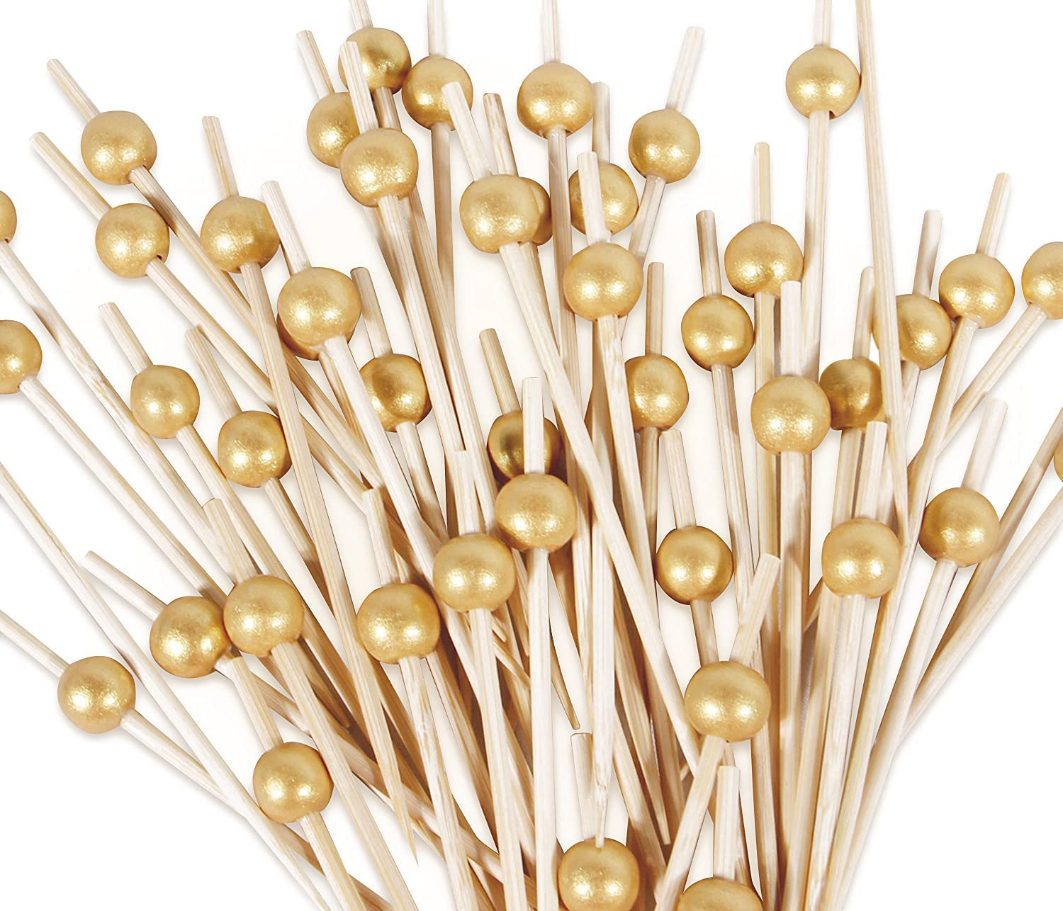 120PCS Bamboo Cocktail Picks, 4.7 Inch Handmade Sticks Cocktail Skewers, Wooden Fancy Toothpicks for Appetizer Drinks Fruits Sandwich Party Decorative Food Picks with Gold Pearl