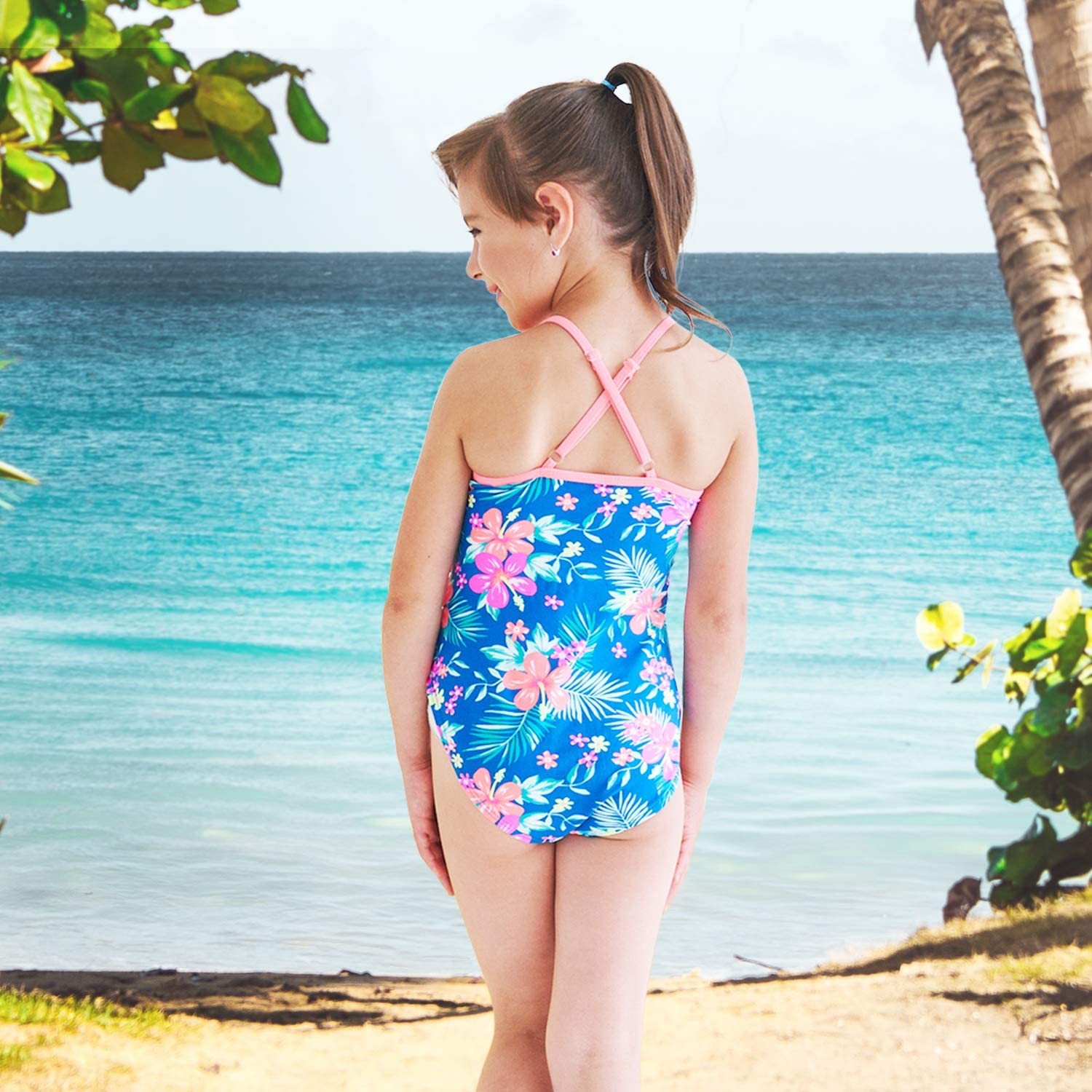 Moon Tree Girls One Piece Swimsuits Hawaiian Ruffle Swimwear Beach Bathing Suit 5T Blue