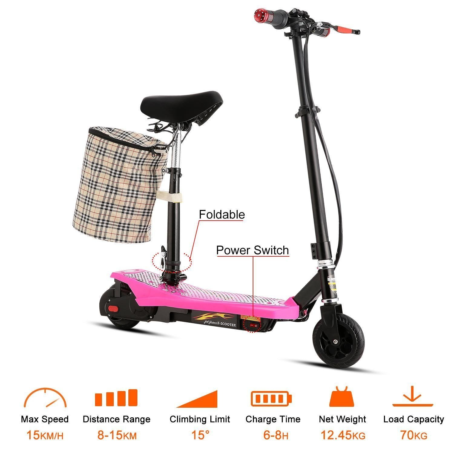 Leoneva Kids Girls 2-Wheel Mini Folding Electric Kick Scooter Bike with ABS, Retractable Seat, Detachable Basket-Hold, Age 13+ (Pink) by Leoneva
