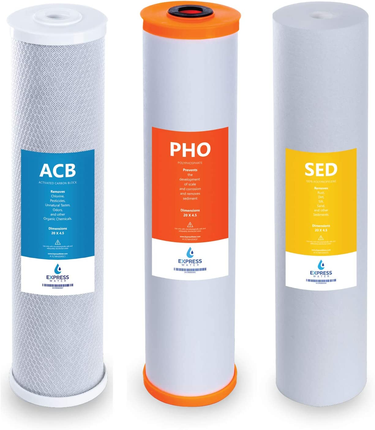 Polyphosphate Anti Scale Whole House Replacement Water Filter Cartridge Set 6-pk