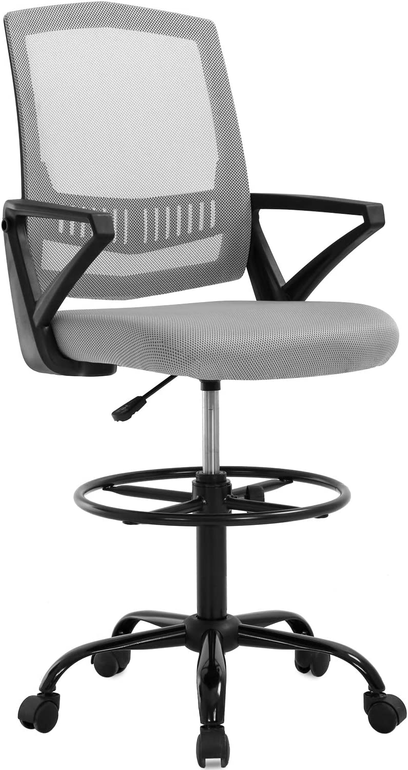 Drafting Chair Tall Office Chair Mesh Drafting Stool Adjustable Height with Lumbar Support Arms Footrest Mid Back Swivel Rolling Swivel Executive Computer Chair for Standing Desk, Grey