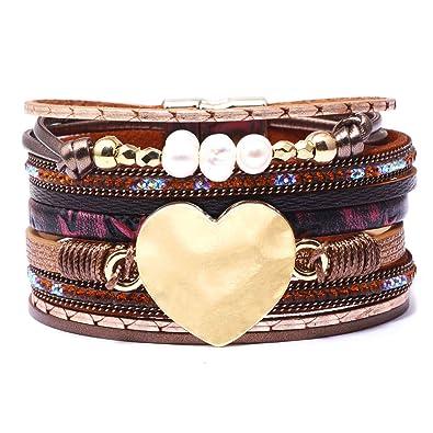 3a8ef14b5f3337 Bracelet manchette en cuir avec breloque coeur métallique, bracelet ...