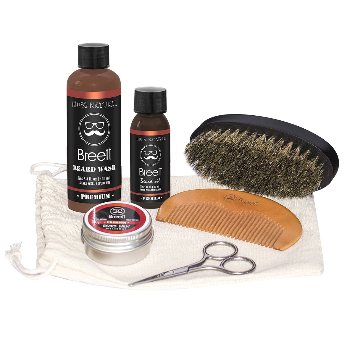 6 Set Beard Care Gift Kit, Beard Oil, Beard Balm, Handmade Wood Comb,100% Pure Boar Bristles Brush, Stainless Barber Sissors, Beard Shampoo, Mustache Grooming Trimming Set for Men Breett