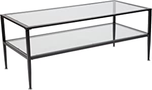 Flash Furniture Newport Collection Glass Coffee Table with Black Metal Frame