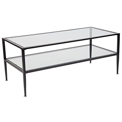 flash furniture newport collection glass coffee table with black metal frame - Metal Frame Coffee Table
