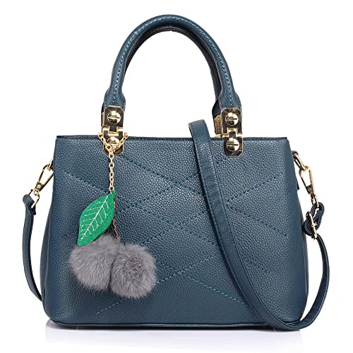 b95e4bae189a LnB Ladies Fashion Navy Tote Shoulder Bag With Faux-Fur Charm - AG00537-S   Amazon.co.uk  Shoes   Bags