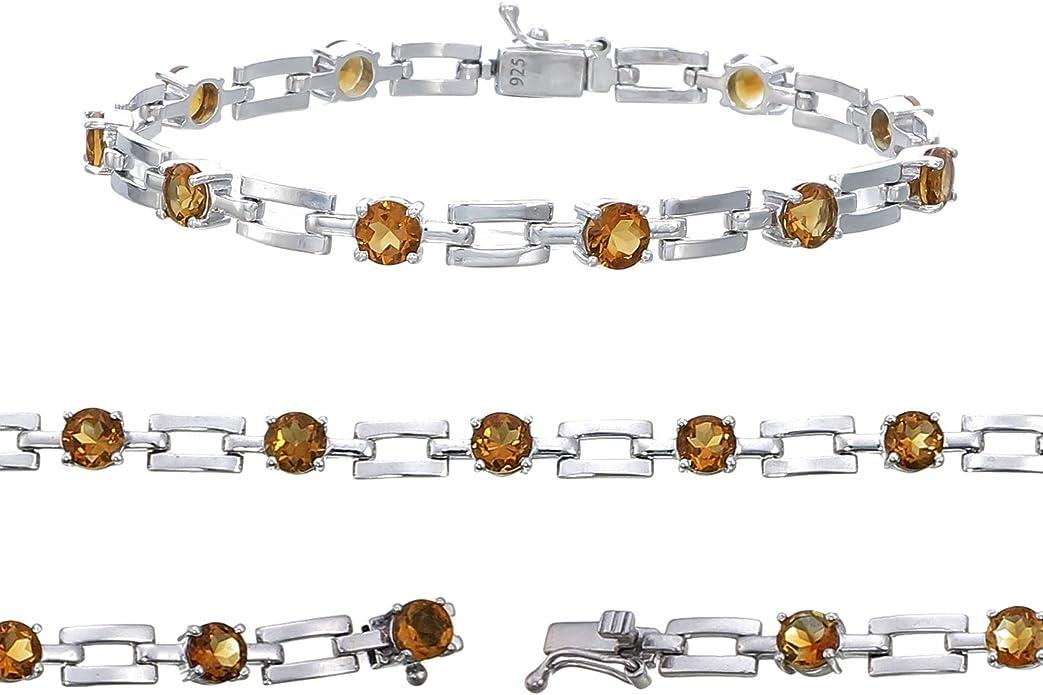 J1222 Gift Rutilated Quartz Bracelet Dainty Bracelet Bezel Set Bracelet 925 Sterling Silver Bracelet Adjustable Bracelet Lobster Claw