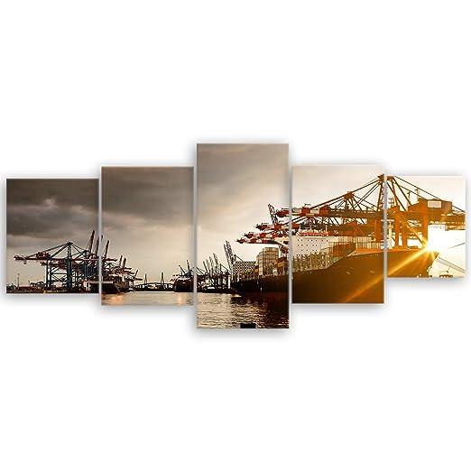 Ge Bildet Hochwertiges Leinwandbild Hamburger Hafen 200 X 80 Cm
