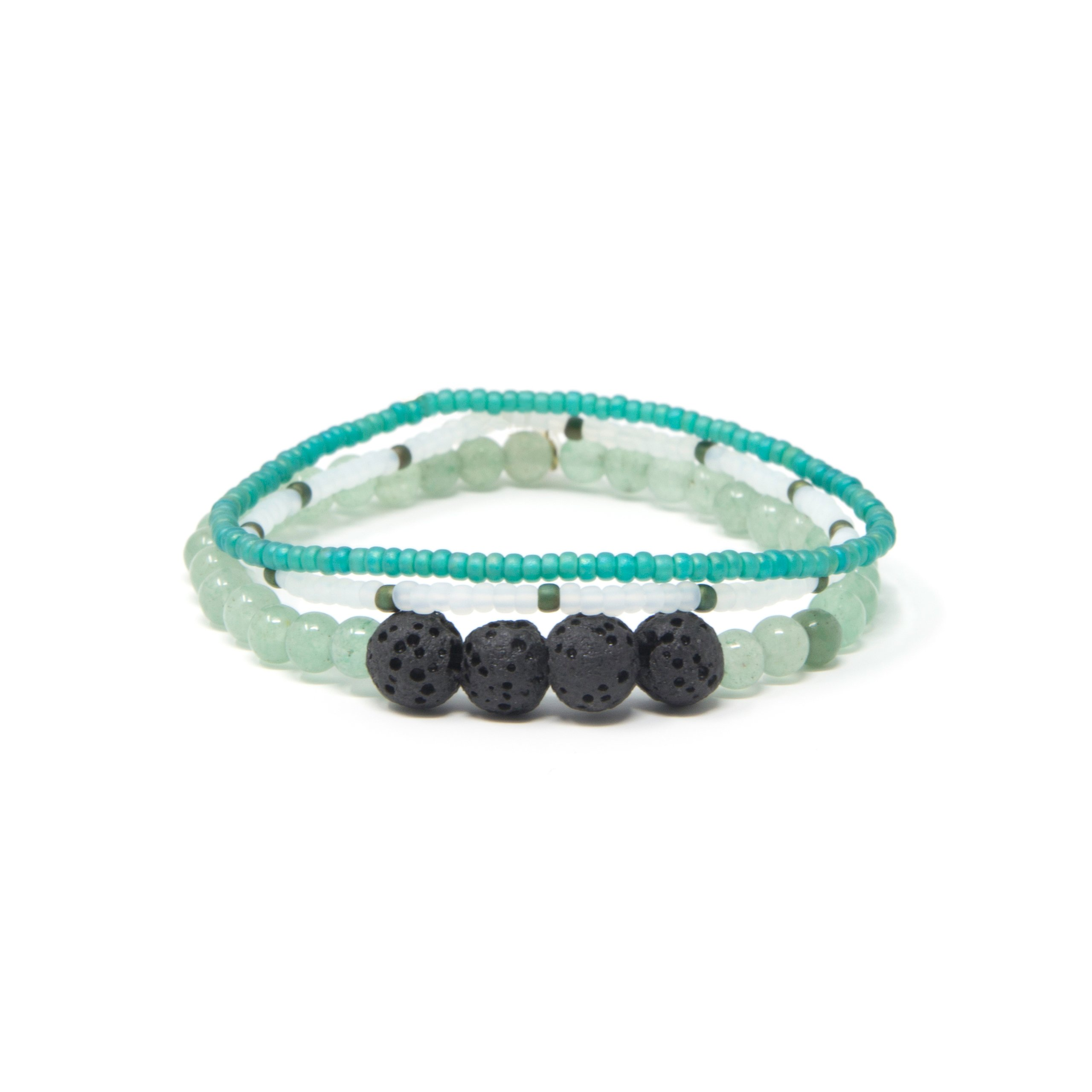 Essential Oil Diffuser Bracelet for Women and Men by Helloha – Lava Rock and Gemstone Beaded Aromatherapy Bracelet