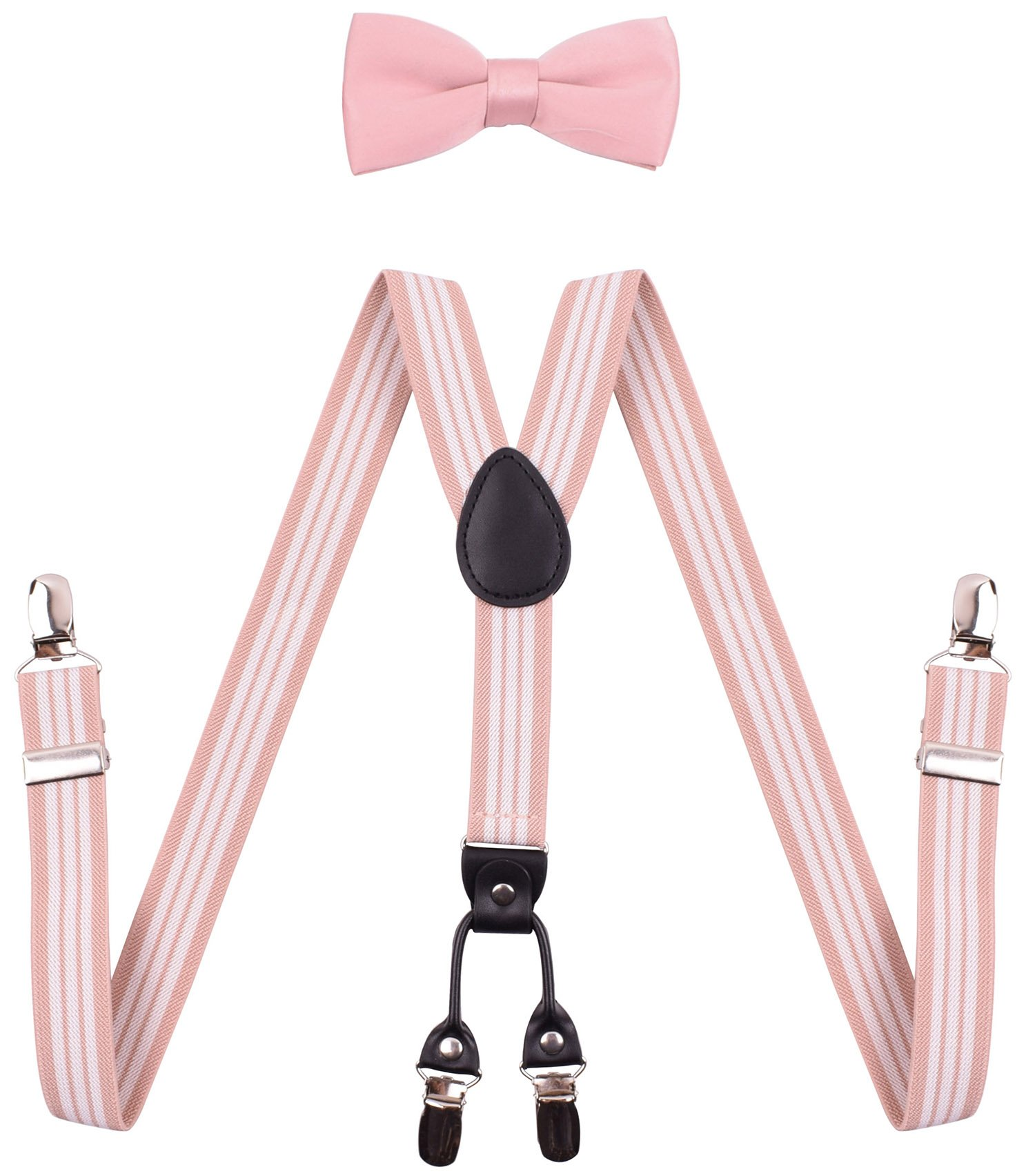 YJDS Toddler Suspenders Bowties for Kids Girls Boys Leather Braces Blush Stripe