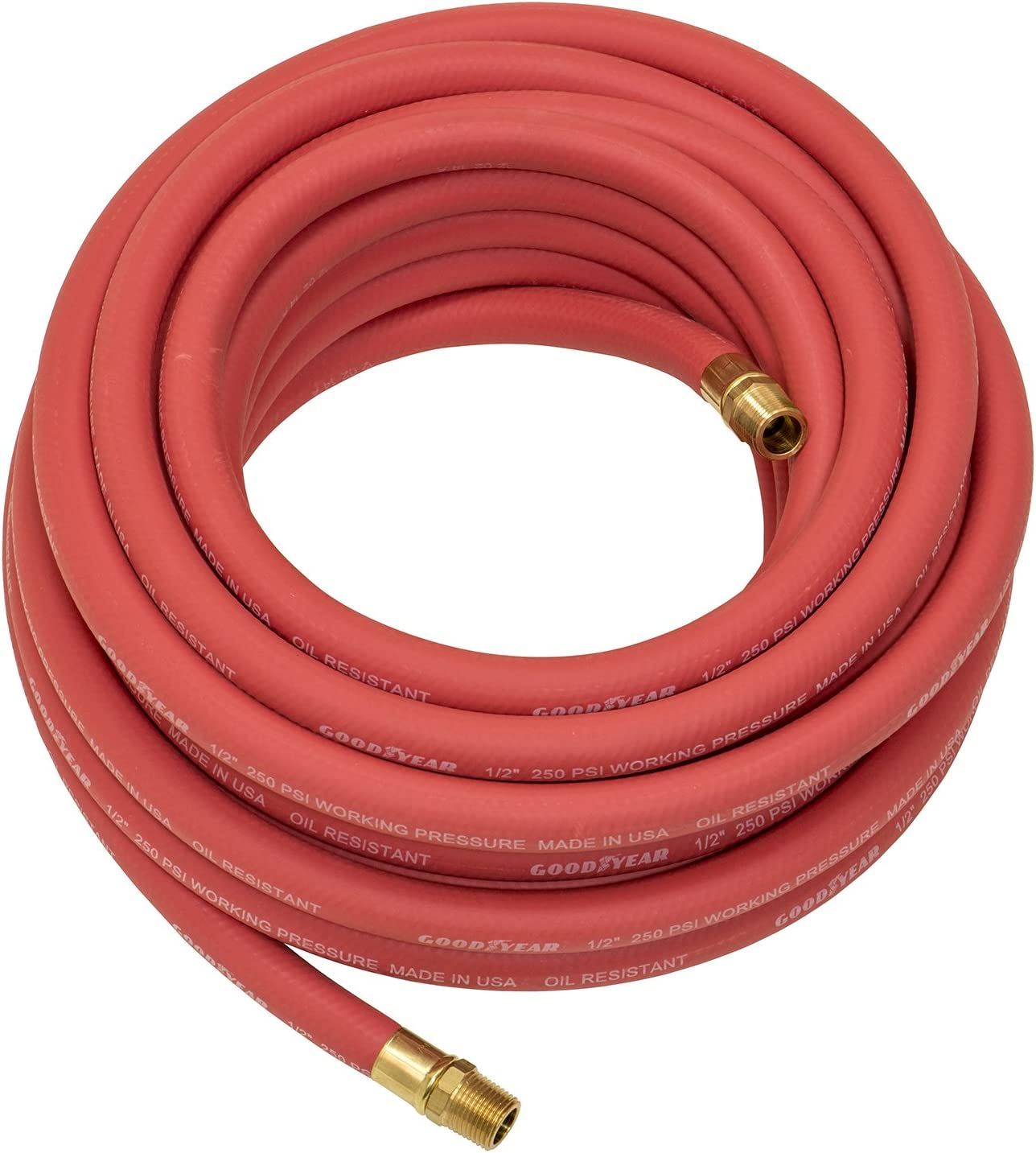 """Good Year 50/' x 3//8/"""" 250 PSI Rubber Air Compressor Hose 12674 Goodyear USA Made"""