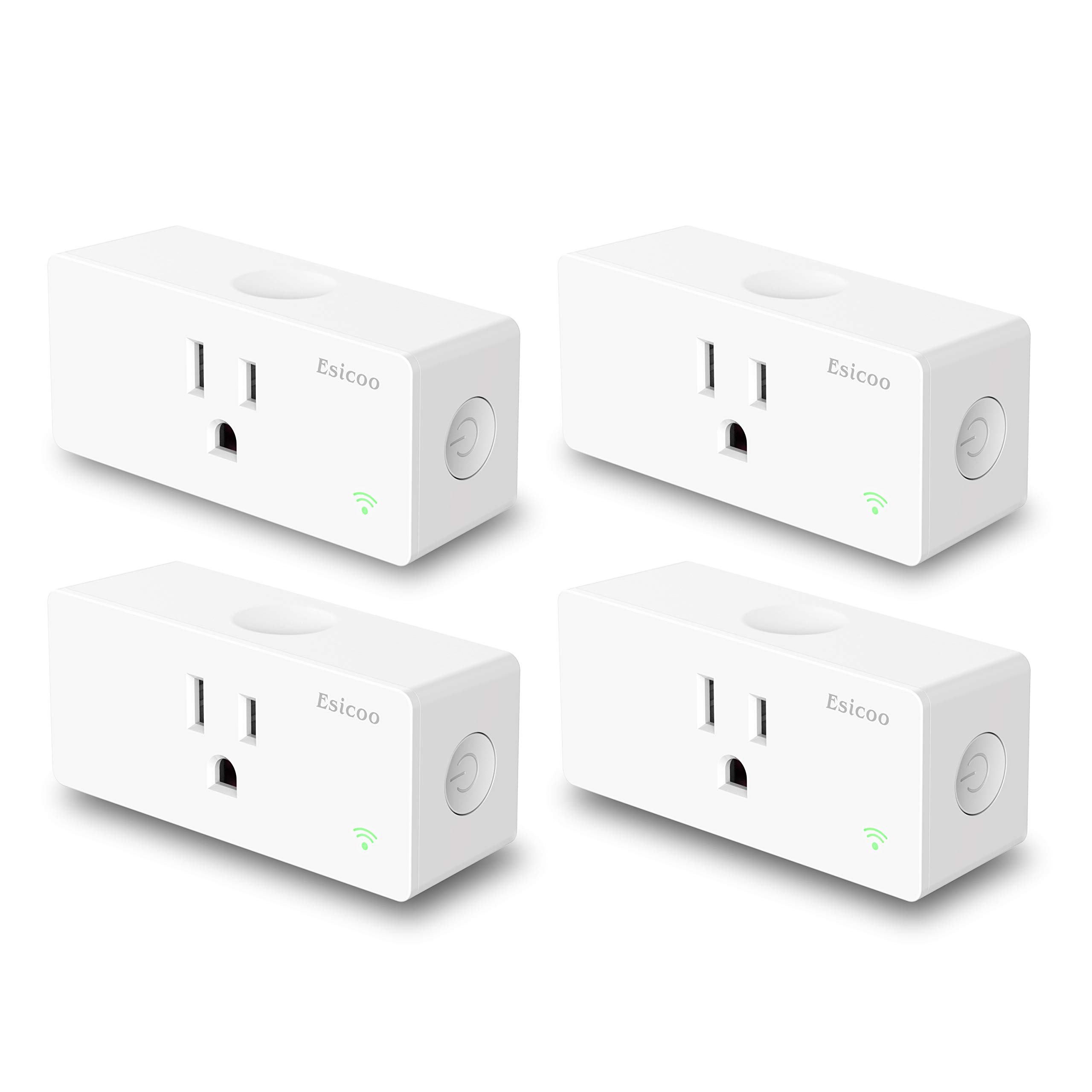 Esicoo Wi-Fi Smart Plug 4 Pack,15A,Compatiable with Amazon Alexa and Google Assistant,No Hub Required Control Your Devices from Anywhere