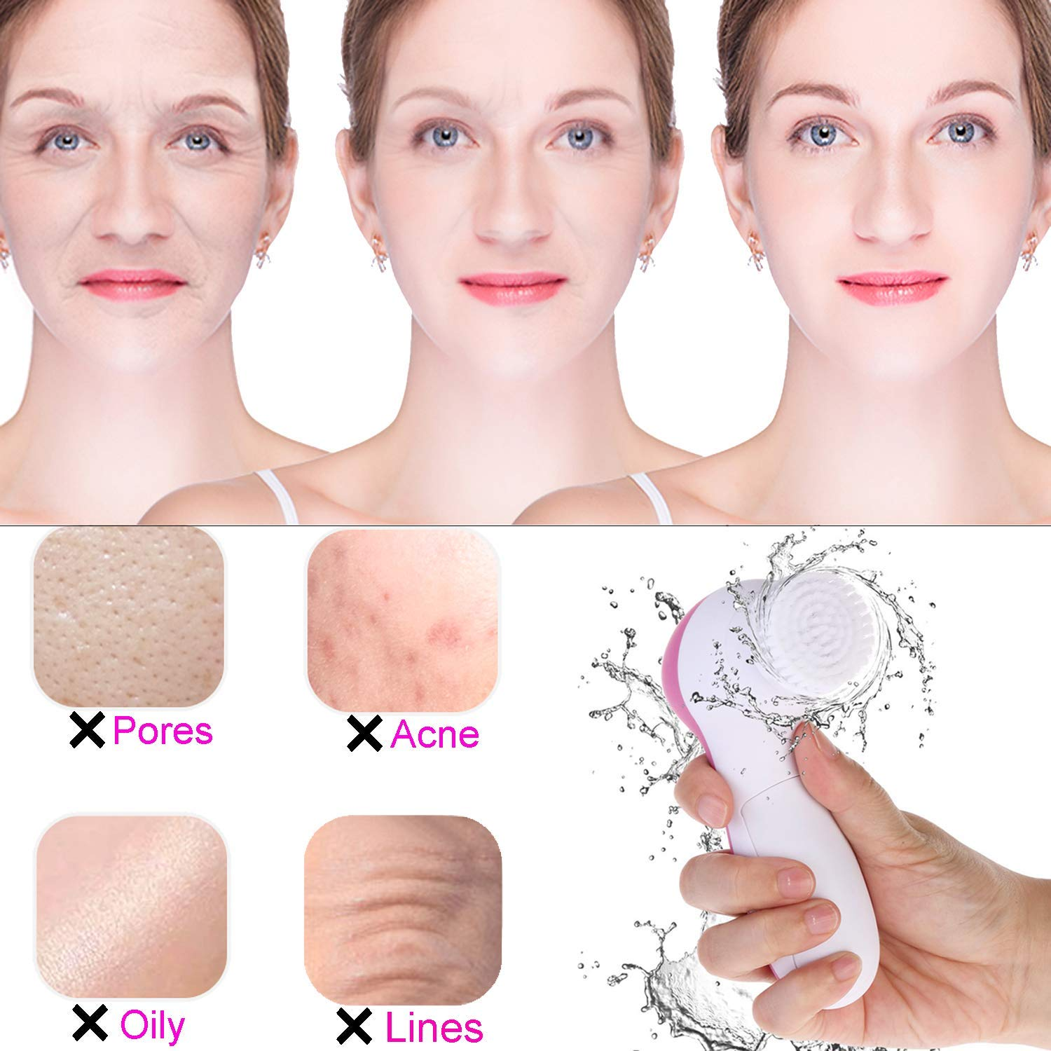 5 in 1 Facial Cleansing Brush, Face Wash Facial Soft Cleansing Electric Massager (Pink)