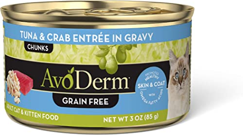 AvoDerm Natural Grain Free Tuna Chicken Entr e with Vegetables Wet Cat Food 3 oz, Pack of 24