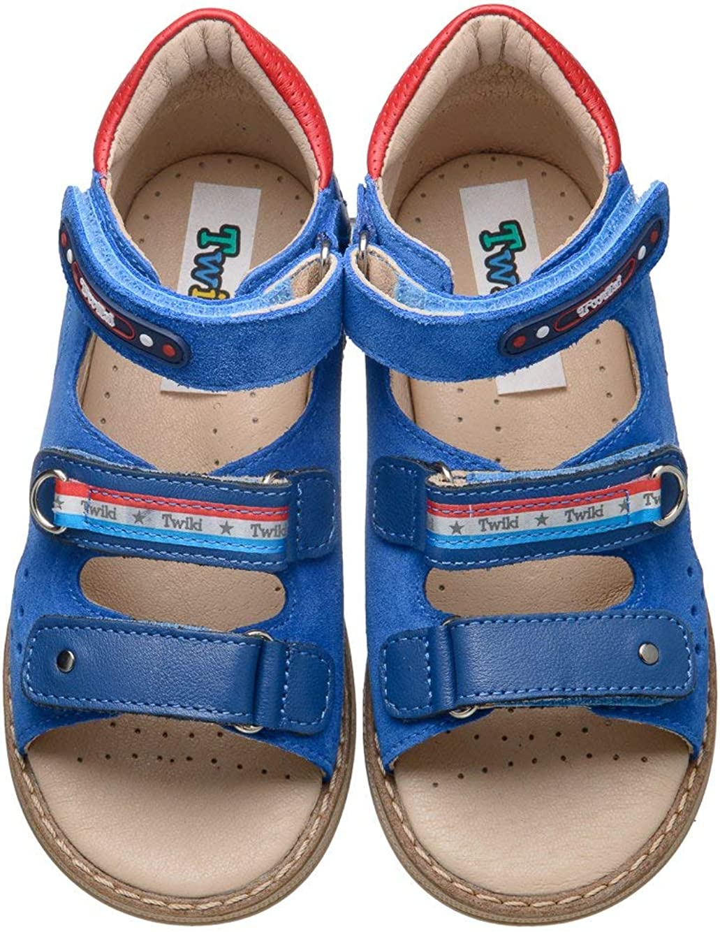 Orthopedic Kids Shoes for Boys and Girls Non-Slip Amortizing Sole and Thomas Heel Twiki Genuine Leather Sandals with Arch Support