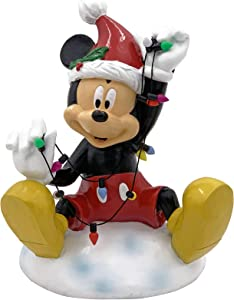 The Galway Company Disney Mickey Mouse Garden Statue Wrapped in Christmas String Lights, Stands 7 Inches Tall and 5 Inches Wide