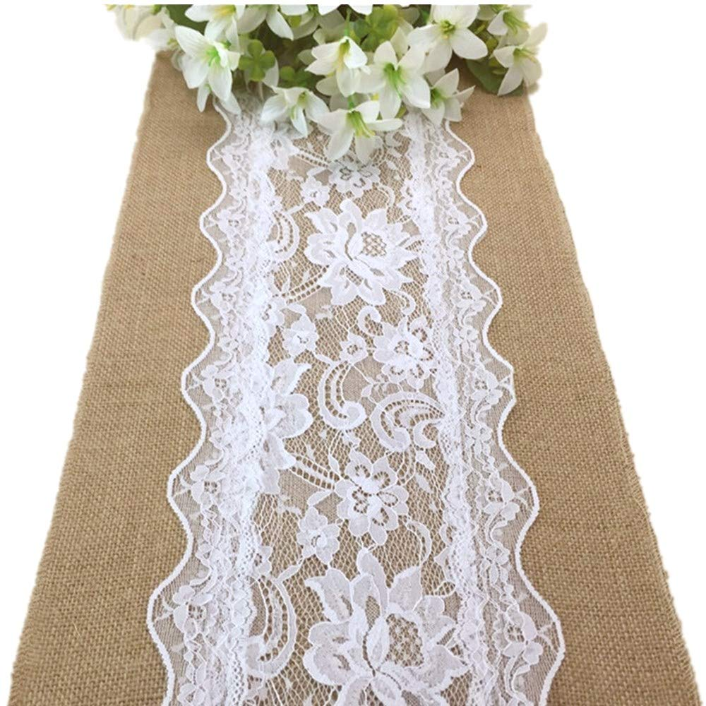 boyspringg Burlap Table Runners with Lace 108 Inches Long Natural Jute Wedding Festival Event Table Decoration (10) by boyspringg
