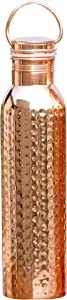 HealthGoodsIn - Pure Copper (99.74%) Hammered Water Bottle with Carrying Handle 600 Ml (20.28 Fluid Ounce) | Seamless Leakproof Water Bottle for Ayurvedic Benefits