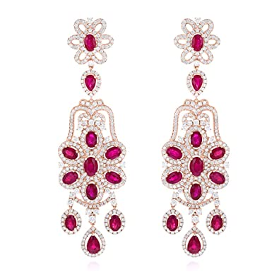 Amazoncom Luxurman Designer Jewelry Ladies 14k Chandelier Ruby