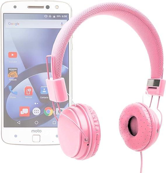 DURAGADGET Auriculares De Diadema Color Rosa para Smartphone Lenovo Moto Z/Moto Z Force/Phablet Lenovo PHAB2 / Pro/Plus Combinar con Su Móvil!: Amazon.es: Electrónica