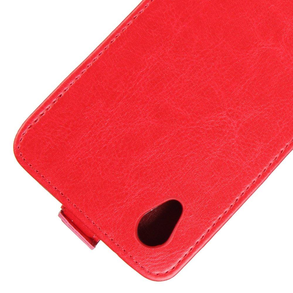 Nadakin ZTE Blade X3 A452 A452 Calidad Premium Cartera de Cuero con Carcasa de Tel/éfono Up and Down Retro Flip Funda con Soporte Magnetico de Cierre para ZTE Blade X3 Rojo