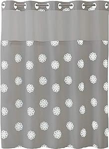 SureFit Home Décor Hookless Sunburst Floral Shower Curtain with Peva Snap In Liner Easy Install, Flex On Rings, Split Grommet, Machine Washable, Gray White Color