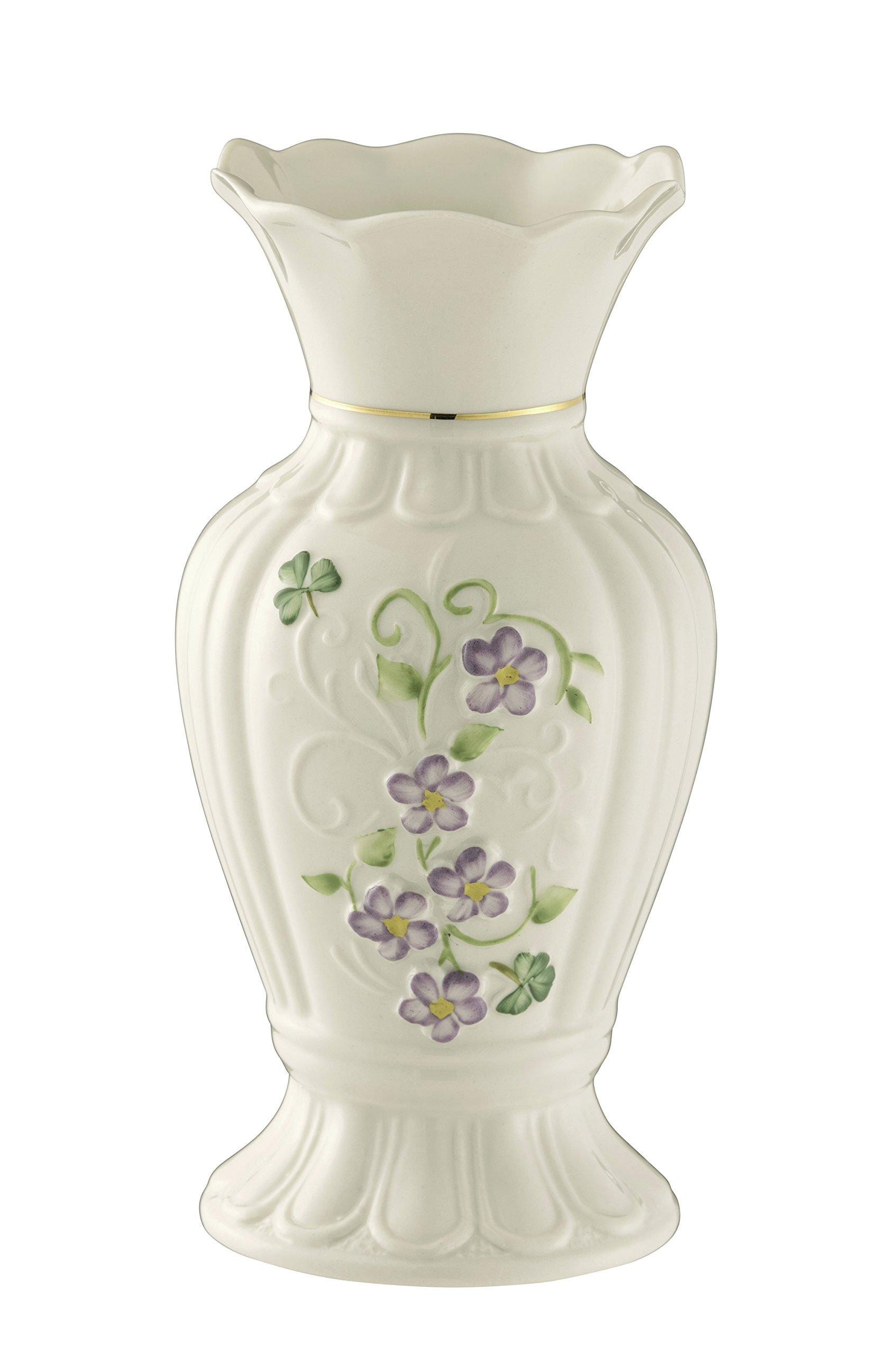 Belleek Pottery Floral Irish Flax Vase