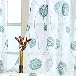 MRTREES Sheer Curtains Embroidered Living Room 63 inches Long Semi Curtain Sheers Bedroom Voile Curtain Panels Green Floral Embroidery Drapes Nest Design Window Treatment Set Rod Pocket 2 Panels