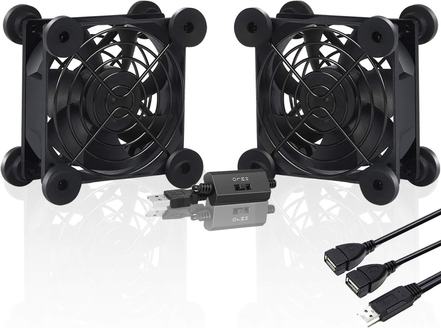 upHere U80 USB Fan 80mm Silent Fan with 3 Adjustable Wind speeds Compatible with Computer / PS4 / TV Box/AV Cabinet,U804