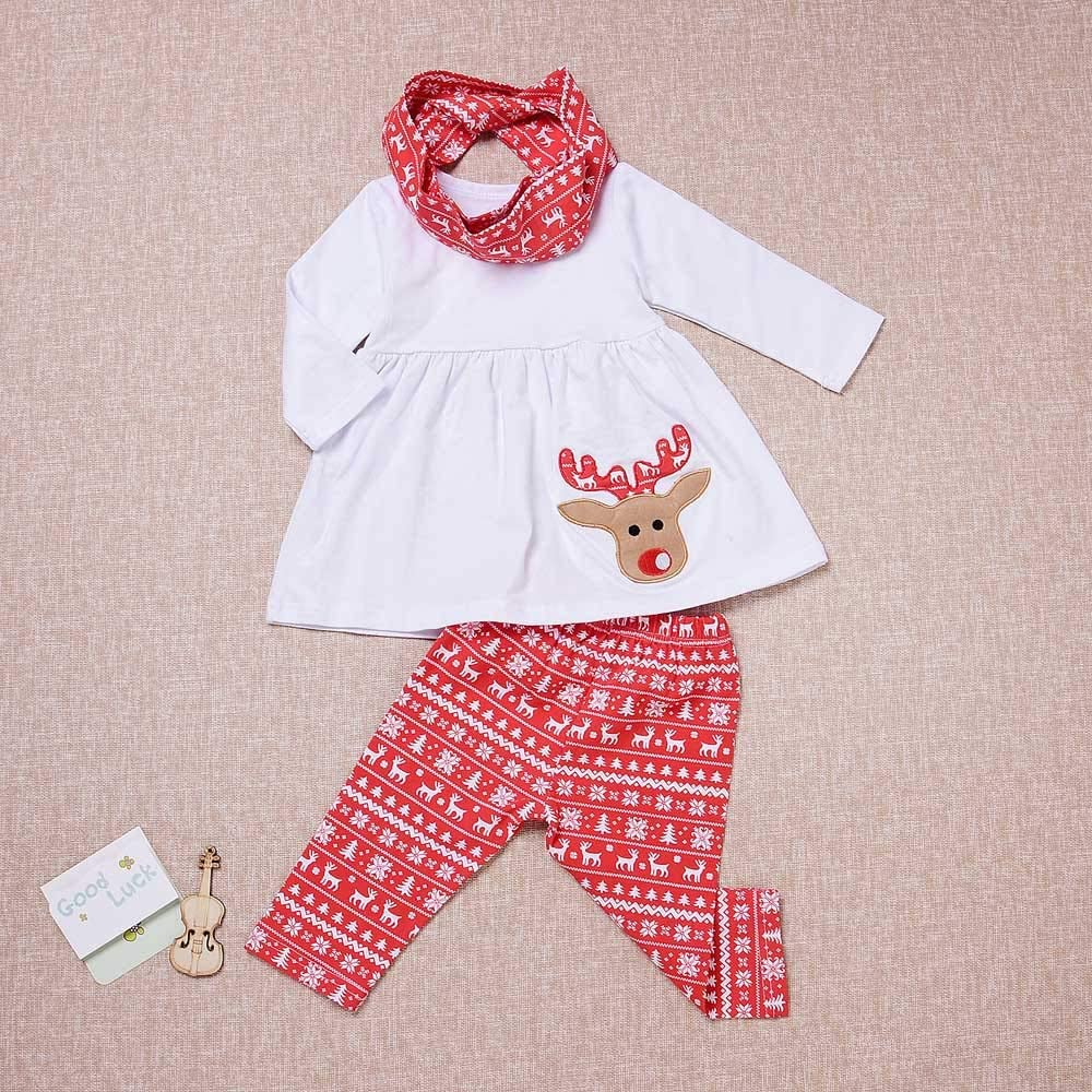 Scarf Set Kids Baby Christmas Outfit Set Girls 4-5 Years,Reindeer/ Solid White Top Shirt+Patterns/ Pants