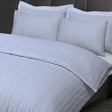 100/%LUXURY HOTEL HOME QUALITY  COTTON SATIN STRIPE DUVET COVER PILLOWCASE SET