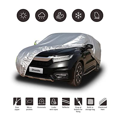 Shieldo Basic Car Cover with Buid-in Storage Bag Door Zipper Windproof Straps and Buckles 100% Waterproof All Season Weather-Proof Fit 211-220 inches SUV: Automotive