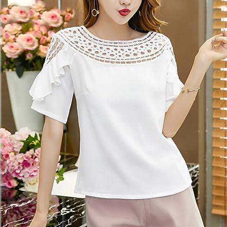 RFZYnjjb Women Short Sleeve Hollow Ruffles Blouses Top Shirt at Amazon Womens Clothing store:
