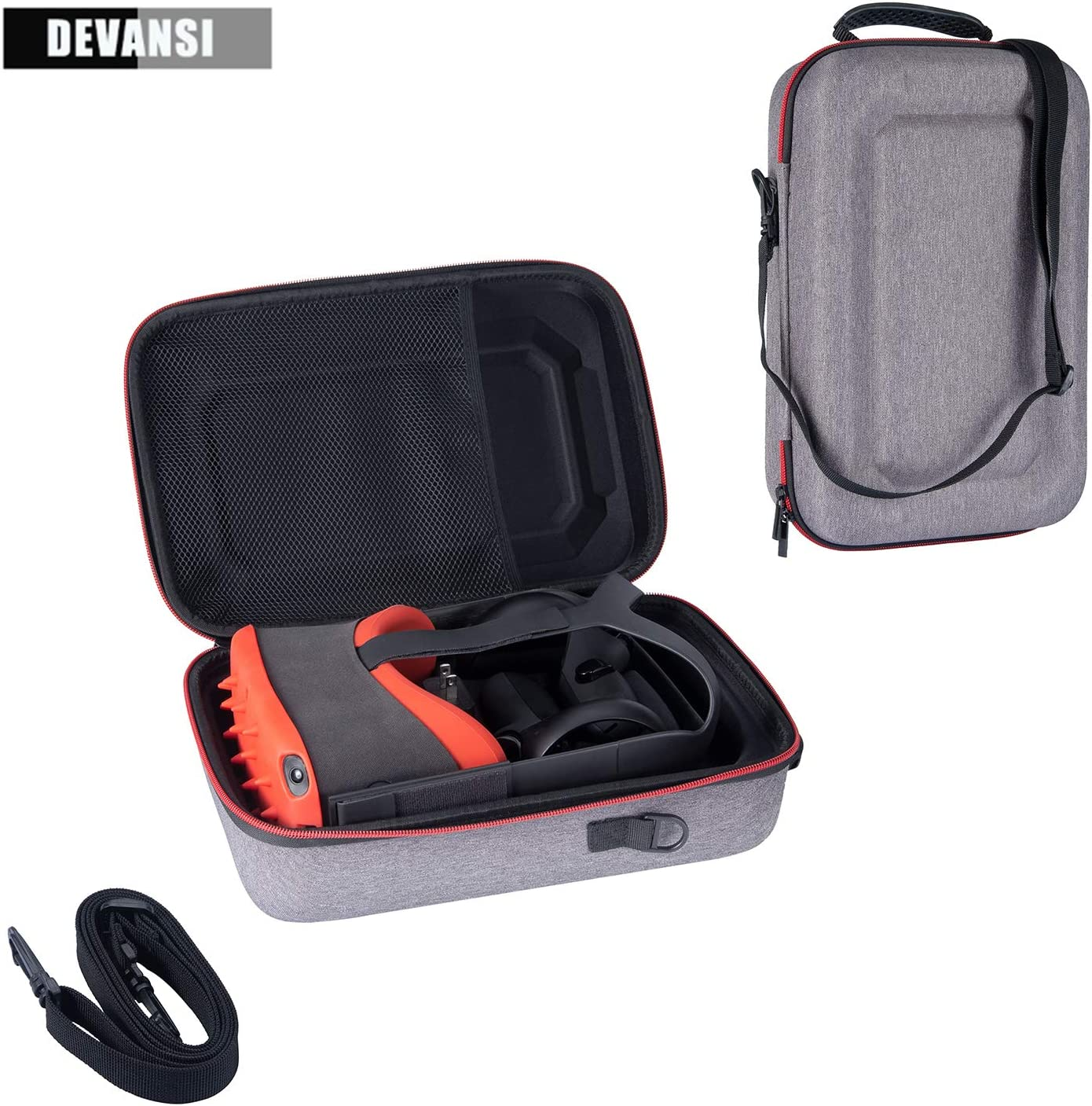 Devansi Pratical Travel Case for Oculus Quest VR Gaming Headset and Controllers Accessories Durable Carrying Bag with Straps(Grey)