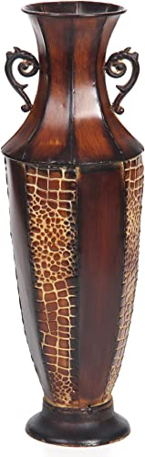 Hosley Decorative Brown Embossed Iron Tall Floor Vase, 26 High. Ideal Gift for Weddings, Party, Spa, Reiki, Meditation O3