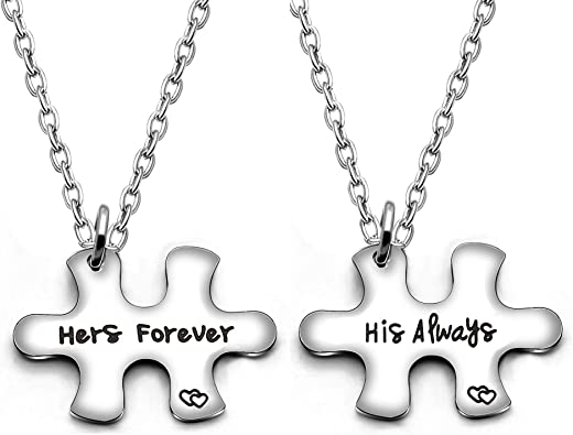 Amazon Com Couple Pendant Necklace Puzzles Valentine Birthday Gifts Boyfriend Girlfriend Jewelry Set 2pcs His Always Her Forever Jewelry